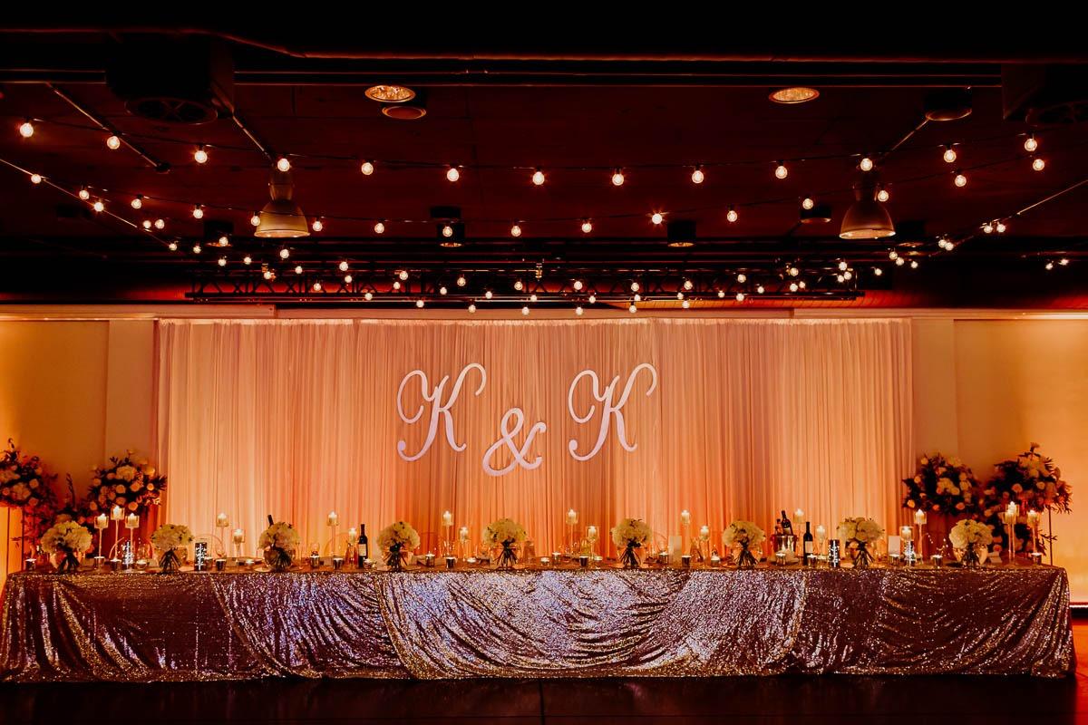 wesele glamour kielce stół pary młodej